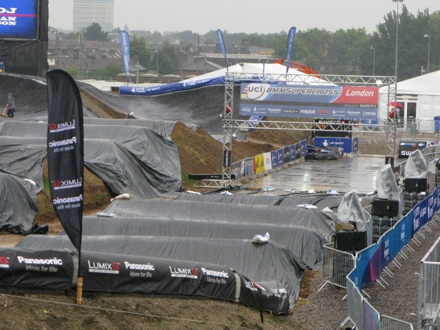 By mid-afternoon racing had looked very doubtful as spectators huddled in semi-cover to escape the relentless rain
