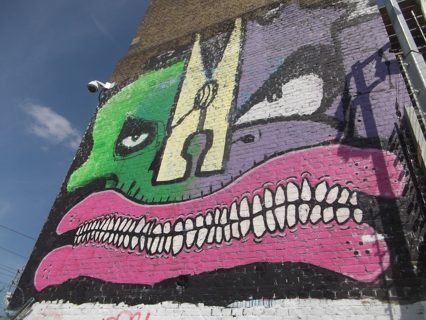 Cyclops, Gold Peg, Mighty Mo and Sweet Toof come together near Hackney Wick.