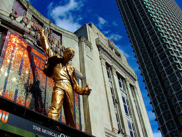 Perhaps London's most famous dummy. The giant, golden Freddie Mercury above the Dominion on Tottenham Court Road. Image by O.F.E. in the Londonist Flickr pool.