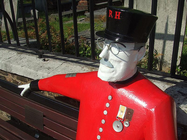 So that's what happened to Jimmy Hill. A plastic pensioner outside the Royal Hospital, Chelsea. Image by M@.