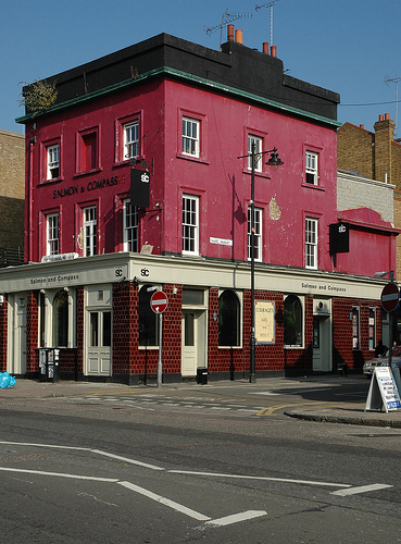 The Salmon and Compass in Islington. Since this photo was taken, the pub has reopened as The Compass, showing that it's not all doom and gloom.