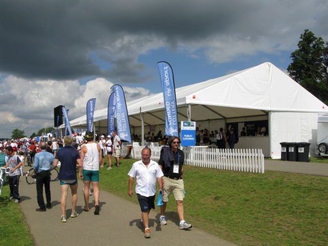 For now the bar is king by the finish line. With ice creams nearby too, just the place to be in Friday's sticky sunshine