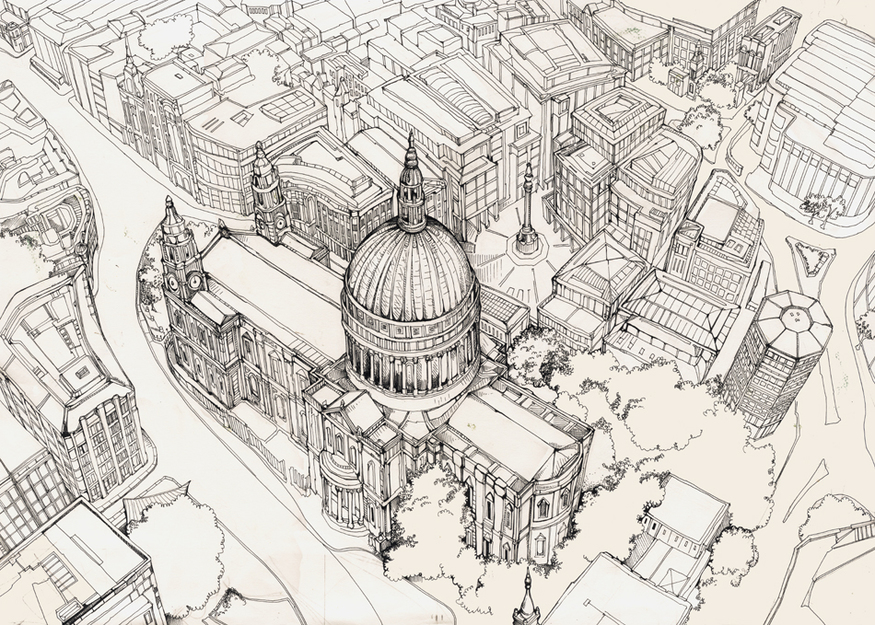 St Paul's in three-point perspective.