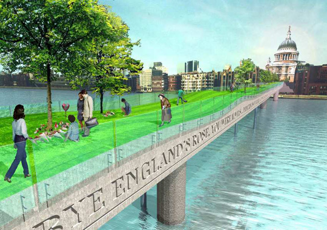 Proposal for a Princess Diana-themed Millennium Bridge by FAT.