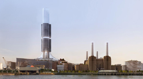 One of the many schemes for Battersea Power Station. This one, from 2008, was perhaps the most radical, and involved turning Battersea into an eco-energy station, complete with 91m chimney.