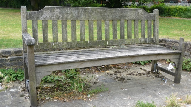 The lone bench - just about holding it together
