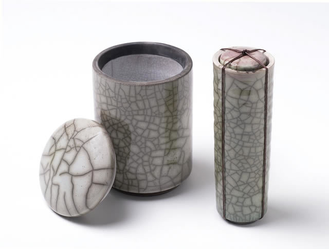 Pale Green Raku Containers by Kate Schuricht