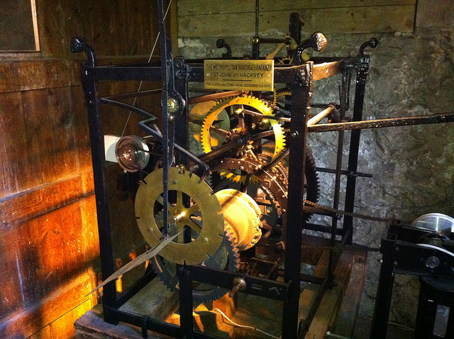 An historic clock mechanism in St Augustine's Tower, Hackney.