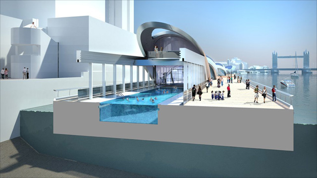 Swimming pool, with retractable roof.