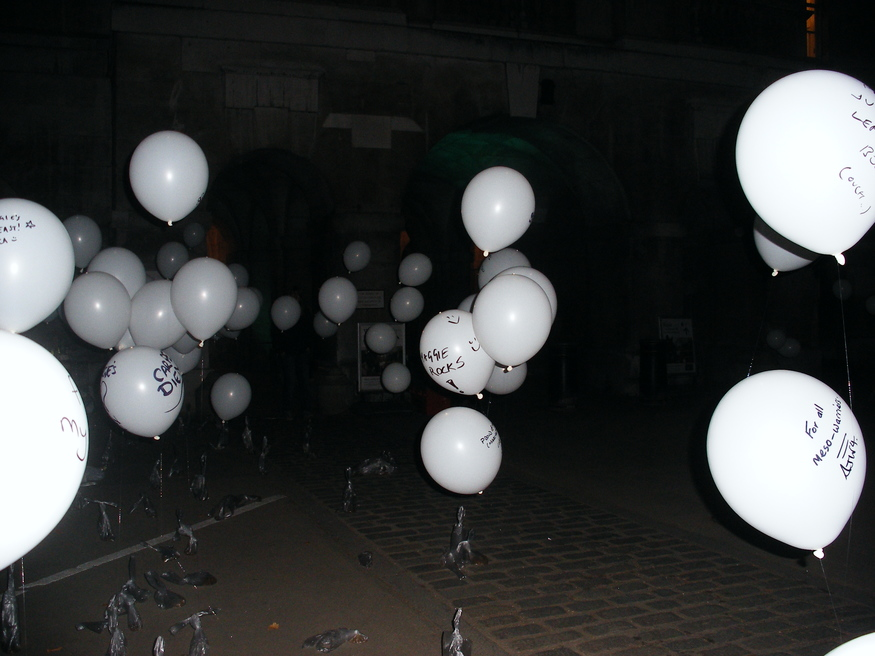 Balloons at Horseguards commemorating those afflicted by cancer