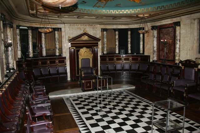 The masons' hall inside the Adnaz Hotel.