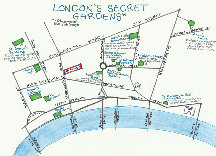 Hand-Drawn Maps Of London: Secret Gardens