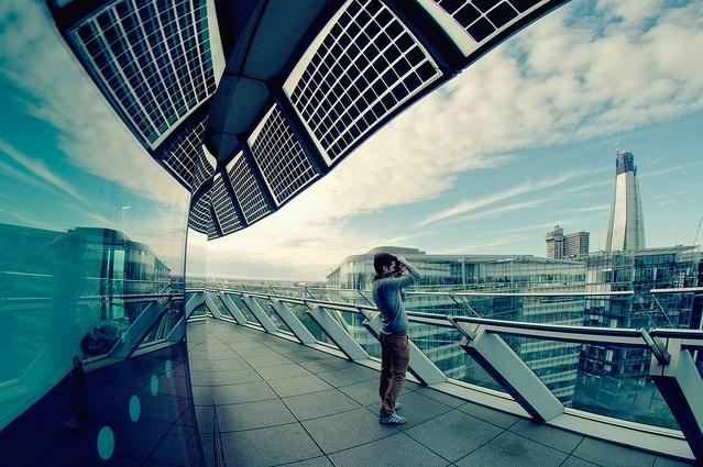 Looking out from the top floor of City Hall by Martin Turner