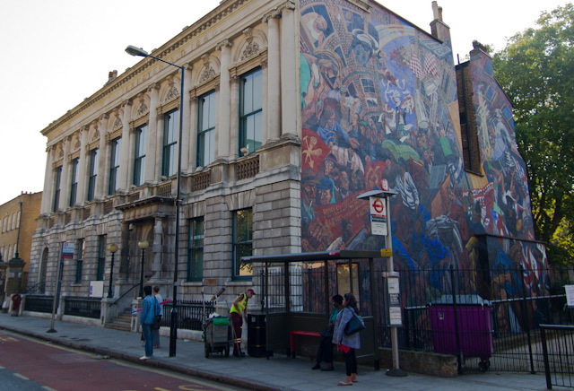 Stepney Town Hall, with the famous mural depicting the Battle of Cable Street