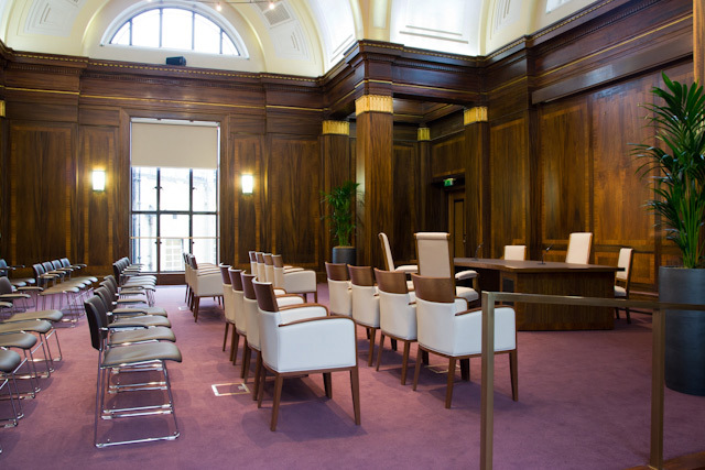 The interior of Stoke Newington Town Hall. In 2010 after a major refurbishment project it re-opened as an event space and wedding party venue. We had a look round a few years ago.