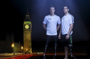 Richard Whitehead and Local Hero Scott Moorhouse launch Lloyds TSB's Paralympic Torch Relay campaign. Shine a light on someone who has inspired or supported people with disability in your community by nominating them to carry the Paralympic Flame with Lloyds TSB at www.lloydstsb.com/paralympicflame before 22 November 2011.