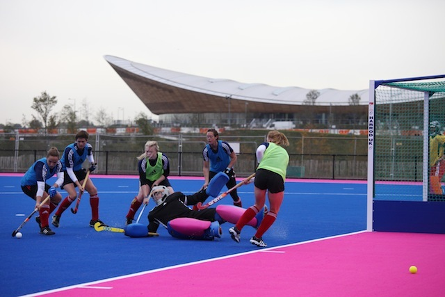 The First Of Striking Blue And Pink Hockey Pitches On Olympic Park Was Presented To World Yesterday This Competition Pitch Will Be Used For