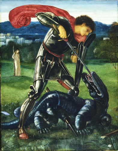 Edward Burne-Jones, Saint George and the Dragon, 1868. Gouache on paper. Copyright William Morris Gallery, London