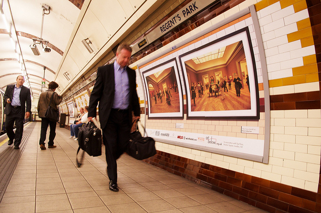 Eleanor Lindsay-Flynn's Yellow Faces pictures are displayed on platform 2