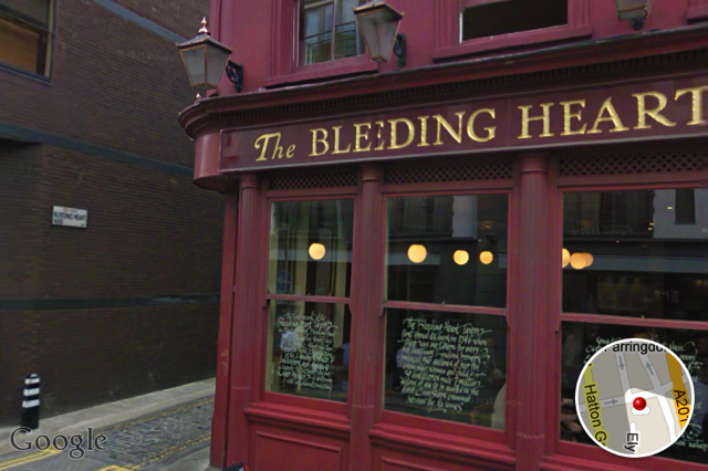 The famous Bleeding Heart Yard, near Farringdon.