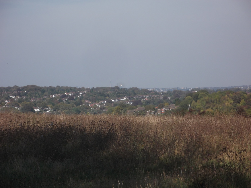 The view from Farthing Downs. Click to zoom in and see the Shard.