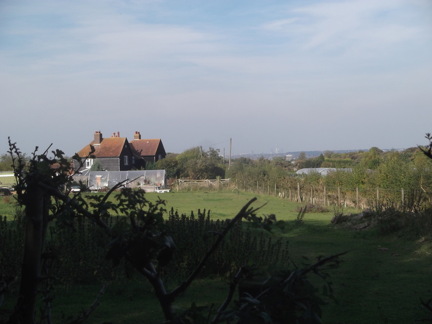 An old farm cottage with the Shard just visible in the distance.