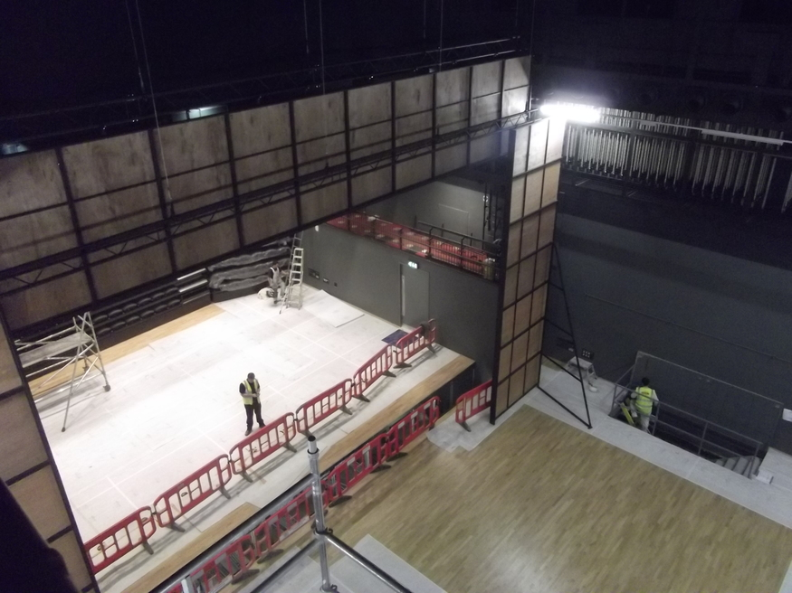 Looking down on the main theatre space.