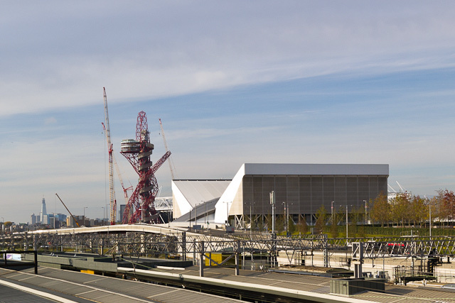 The Orbit and the Aquatics centre. The Shard can be seen to the left. Photo / Dean