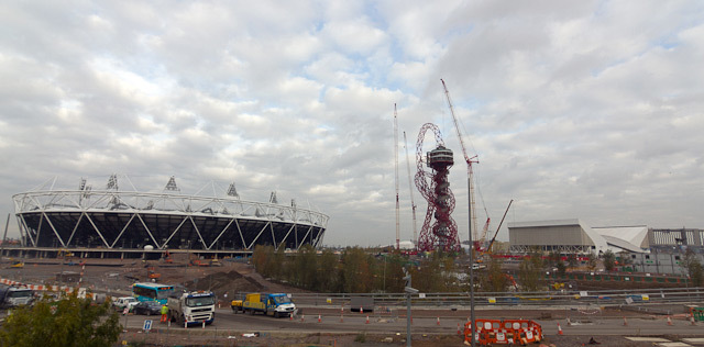 L-R: Olympic Stadium, the Orbit, Aquatics Centre. Photo / Dean.