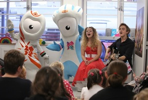 Mascot song launch at Great Ormond Street Hospital School. Wenlock and