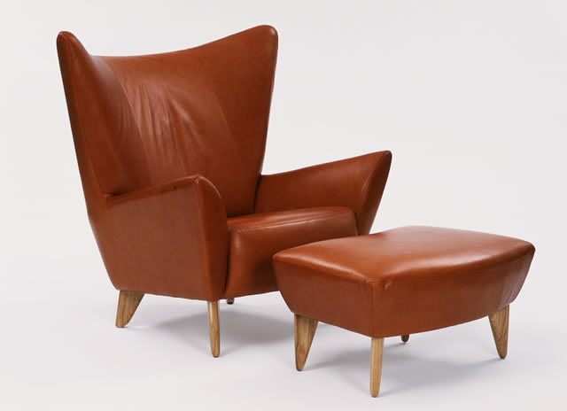 Matador Chair and Footstool in brown leather, designed by Terence Conran. Conran Collection.