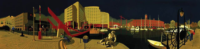 St Katharine's Dock, David Piddock, Oil on gesso board, 59 x 244 cm