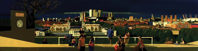 Greenwhich Park, David Piddock, Oil on gessoed aluminium, 77 x 300 cm
