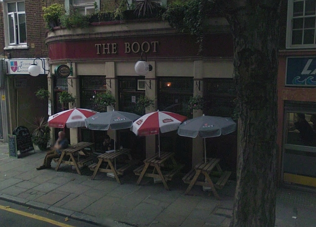 Despite the night chill, there were lots of people sitting outside The Boot and we felt right idiots taking a picture. So thanks, Google Streetview