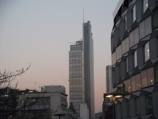 The Heron Tower at dusk.