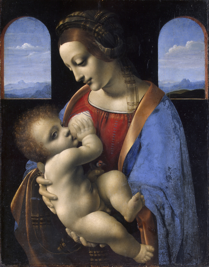 GE-249;0; Leonardo da Vinci. Madonna and Child (Madonna Litta). Tempera (and oil?) on panel, transferred on canvas 42 x 33 cm