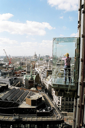Looking out on London from the lift at the Lloyds building. Photo / EZTD