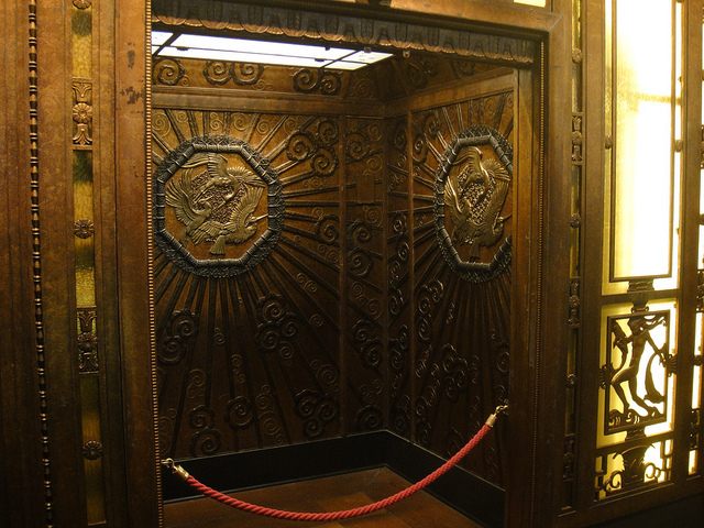 The old Selfridges lift, now in the Museum of London. Photo / waldopepper