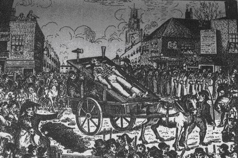 An illustration depicting the body of John Williams, a suspect who hanged himself whilst in jail, being paraded through the streets of east London.