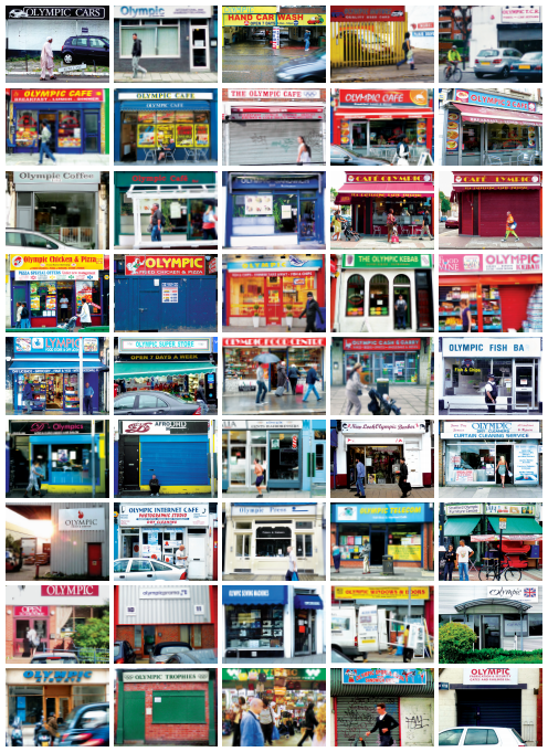 A montage showing some of the many businesses trading in the Olympic name.