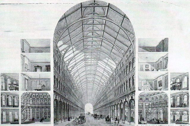 "The Great Victorian Way, a ""girdle"" around central London that would have encased shops, railways and roads in a huge glass hemisphere. Its route would have broadly followed the Circle line."