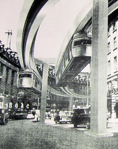 Monorail scheme in Regent's Street, 1960s.