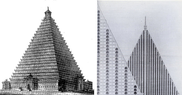 A pair of London pyramids. On the left: a proposed monument to Britain's military heroes at Trafalgar Square, from 1815. Right: A mausoleum, capable of holding 5 million bodies, proposed in the 1830s for Primrose Hill.