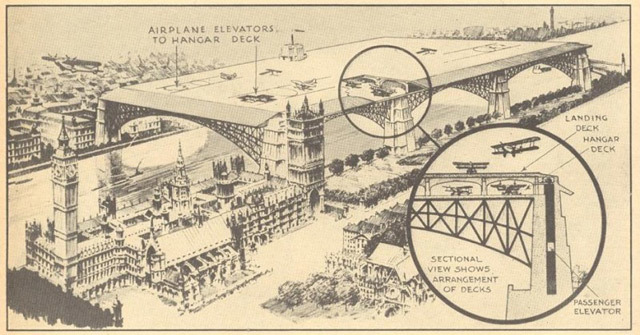 This proposal for an airport next to the Houses of Parliament dates from the 1930s.