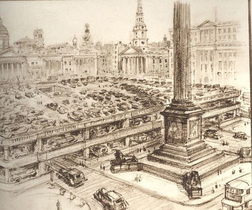 A scheme from the 1930s for a giant car park on top of Trafalgar Square. Barmy, but the noise and fumes would presumably have kept the pigeons at bay.