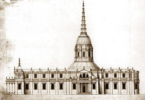 One of five proposals drawn up by Christopher Wren for St Paul's Cathedral, this is the 'Warrant design'. Despite being approved in this form by Charles II, the final cathedral differed substantially.