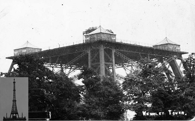 Watkin's Tower, aka Watkin's Folly, was a tower in north-west London. The inset picture shows the tower's final design, but it only got as far as the main image. Wembley Stadium now stands on the site.