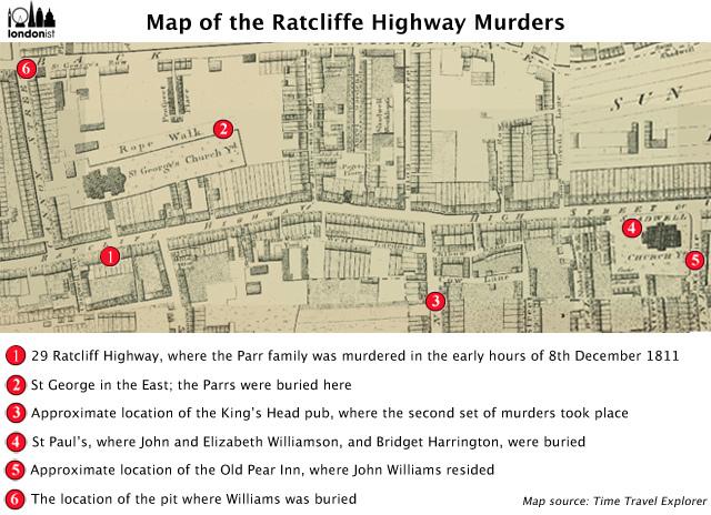 Mapa vražd v Ratcliffe Highway