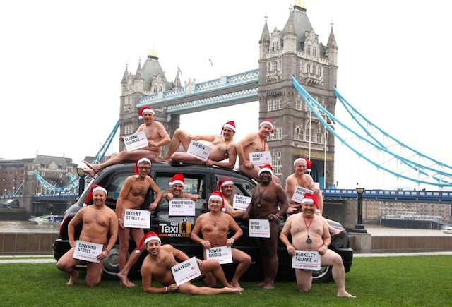 EMBARGOED TO 0001 FRIDAY DECEMBER 23.  London cabbies and stars of the Get Taxi App charity calendar pictured at Potters Field in London , top row, left to right: Colin Sinclare (Sloane Sq), Nick Lanning (Big Ben), Glenn Ellis (Saville Row), Justin Cockhill (Houses of Parliament). Second row, left to right: Brett Cahill (Downing St), John Pace (Regent St), Michael Matthews (Knightrider St), Steve Stannett (Mayfair),  Gary Johnston (Tower Bridge), Salih Kasap ( Harley St),  Ronnie Welch (Bond St) and Tony Habberley (Berkeley Sq).  PRESS ASSOCIATION Photo. Issue date:Friday December 23, 2011. The calendar has been put together in support of the Suzy Lamplugh Trust.  Photo credit should read: Geoff Caddick/PA Wire