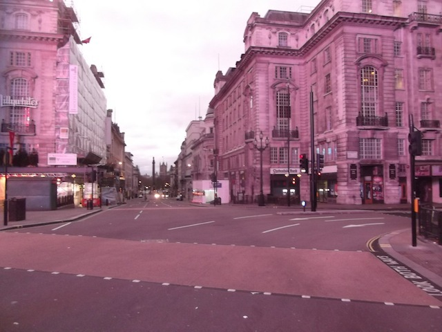 Piccadilly Circus in pink.